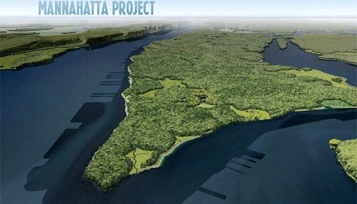 Так выглядел Остров множества холмов до 1609 года (Виртуальная карта Проекта Маннахатта).
