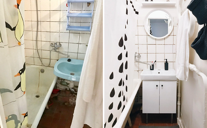 Даже с минимальными затратами ванную комнату можно привести в порядок. | Фото: zen.yandex.ru.
