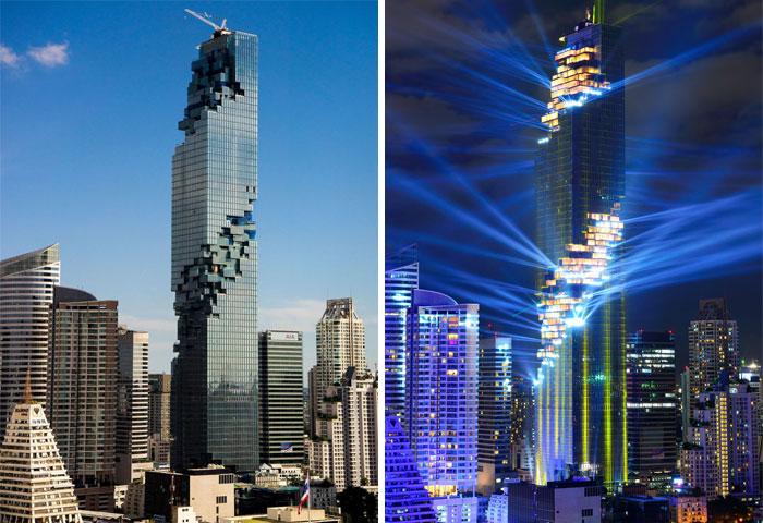 Особенно эффектно небоскреб MahaNakhon выглядит ночью (Бангкок, Таиланд). | Фото: humor.fm.