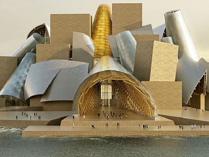 Урезанные конусы будут служить входом в Guggenheim Abu Dhabi Museum. | Фото: Courtesy TDIC and Gehry Partners, LLP.