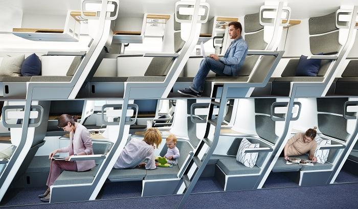 Сидения будут расположены так, что авиакомпаниям не придется сокращать количество пассажиров в салонах авиалайнеров. | Фото: style.yahoo.com.tw/ © Zephyr Aerospace.