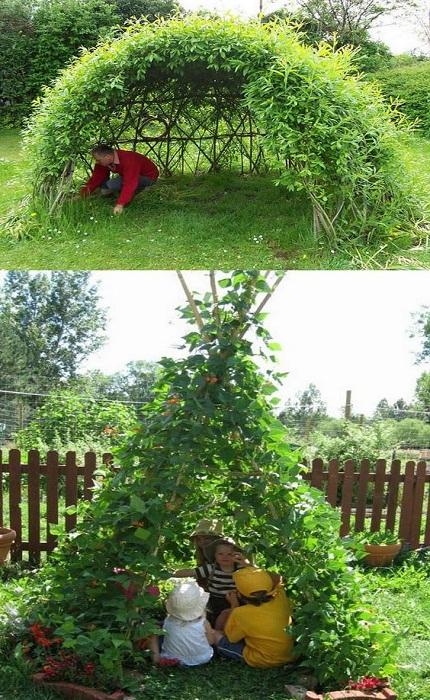 Зеленый шалаш станет не только украшением, но и местом отличного отдыха.