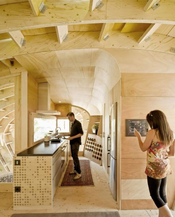 Благоустроенная кухня в эко-доме (Fab Lab House, Испания). | Фото: grinhome.blogspot.com.
