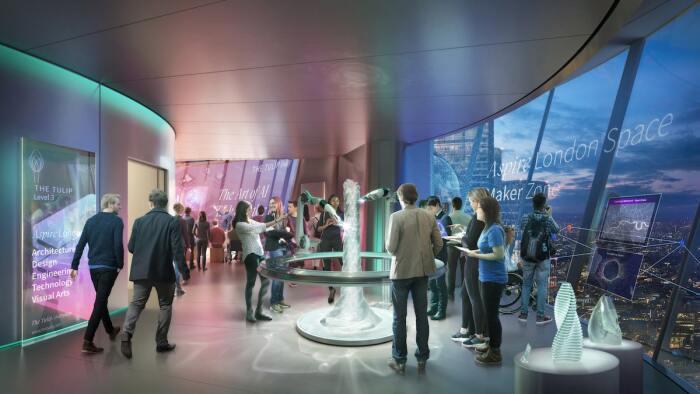 В полностью прозрачной башне-бутоне будут проводиться интересные семинары и экскурсии в сопровождении гида (концепт The Tulip, Великобритания).