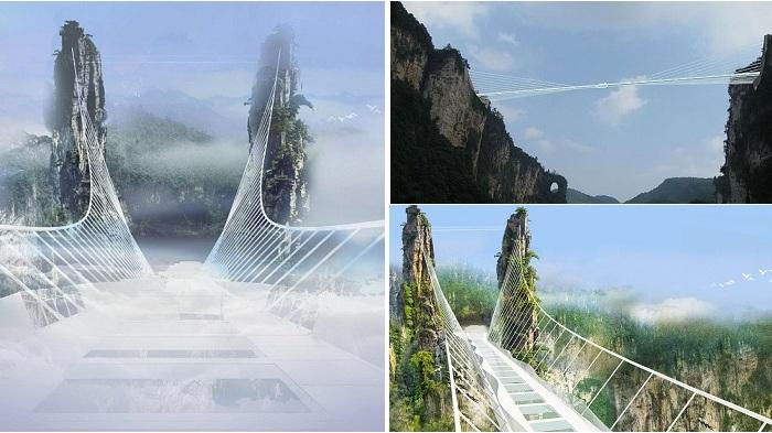 Фантастическая конструкция стеклянного моста.