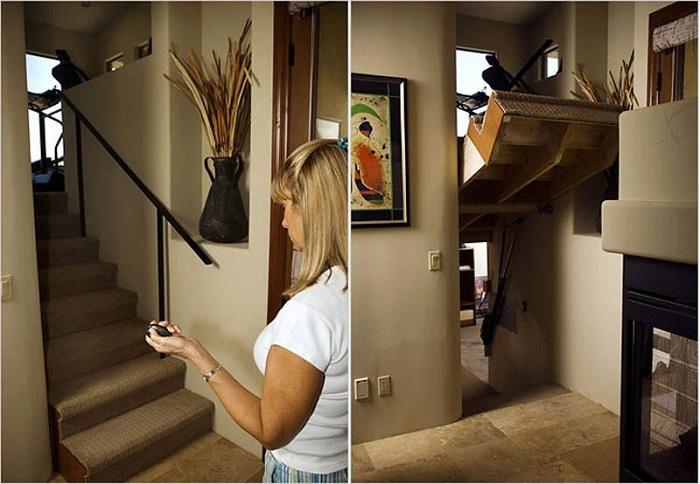 Подъемная лестница не только сэкономит место, но спрячет другую комнату.