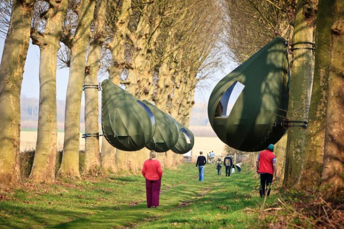 Подобное закрепление номеров не приносит вреда деревьям («Tranendreef & Tentvillage», Бельгия). | Фото: interestingengineering.com.