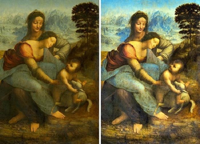 Вот как профессиональные британские реставраторы почистили картину Леонардо да Винчи «Святая Анна с Мадонной и младенцем Христом» (Лувр). | Фото: tainyvselennoi.ru.