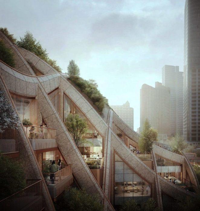 Волнообразная конструкция крыши перголы позволяет украсить крышу-террасу живыми растениями (визуализация Toranomon-Azabudai). | Фото: archspeech.com.