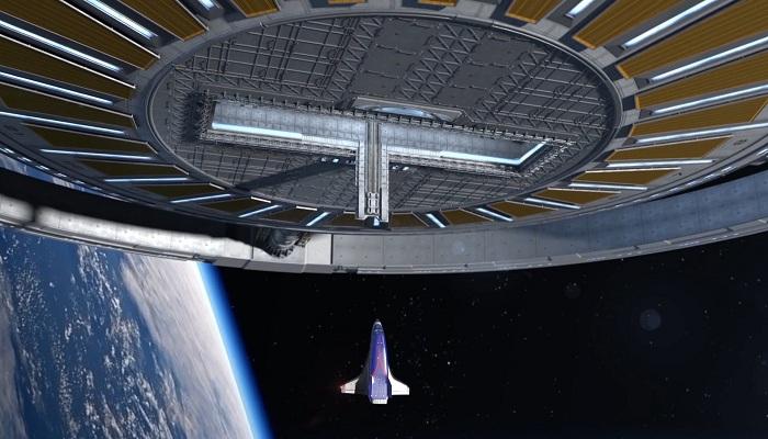 На борт орбитального отеля любителей экстремального отдыха будет доставлять шаттл (концепт отеля Von Braun Space Station). | Фото: universetoday.com.