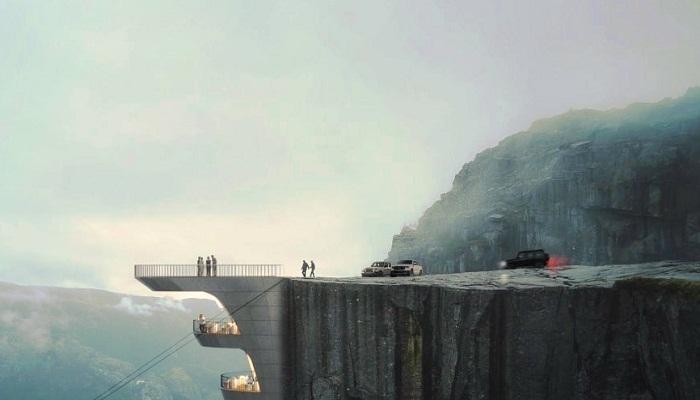 Вход в фешенебельный отель планируют сделать на смотровой площадке (концепт Norwegian Cliff Hotel). | Фото: propertydesign.pl.