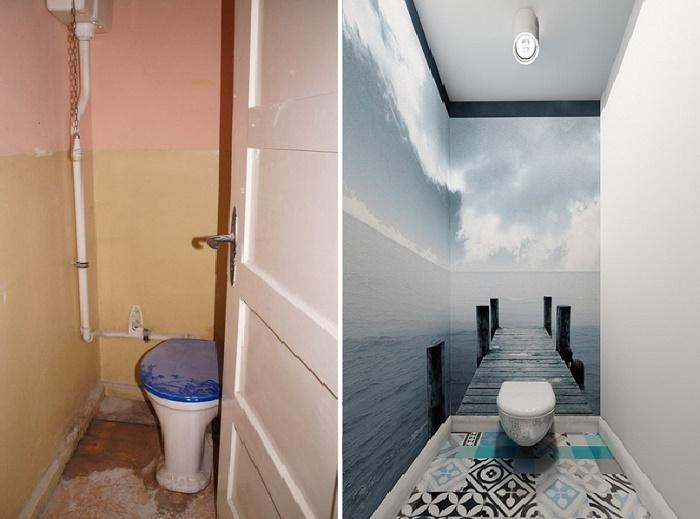 Вдохновляющая идея преобразования крошечного туалета.
