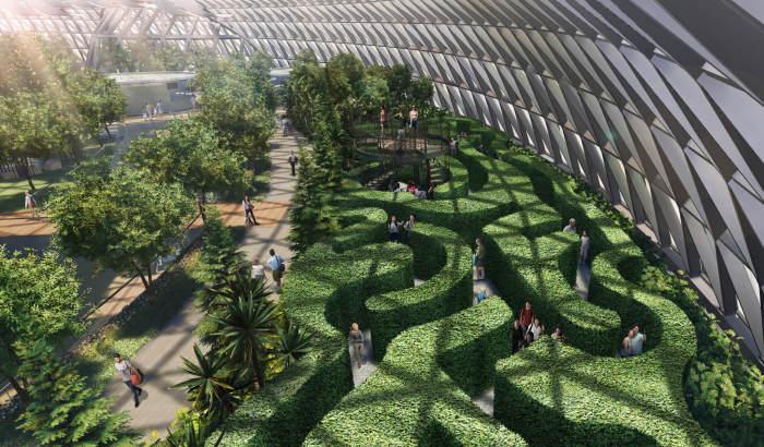 Лабиринт из живых кустарников станет настоящей головоломкой («Canopy Park», Changi Airport).   Фото: straitstimes.com.