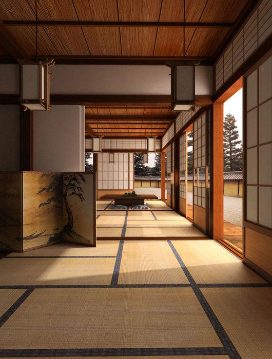 Полное отсутствие видимых систем хранения – главная особенность оформления интерьера в японском стиле. | Фото: pufikhomes.com.