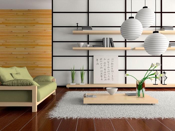 Японский минимализм в интерьере гостиной.