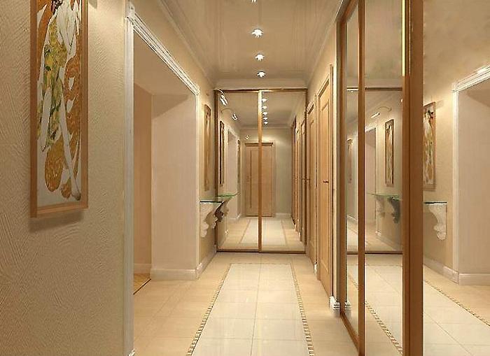 Точечное освещение и зеркальные поверхности зрительно увеличивают пространство.