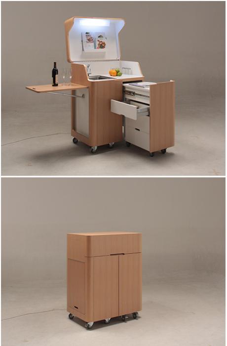 Трансформирующаяся кухня-гостиная один и модулей серии мебели «Kenchikukagu» от японских разработчиков. | Фото: trendland.com.