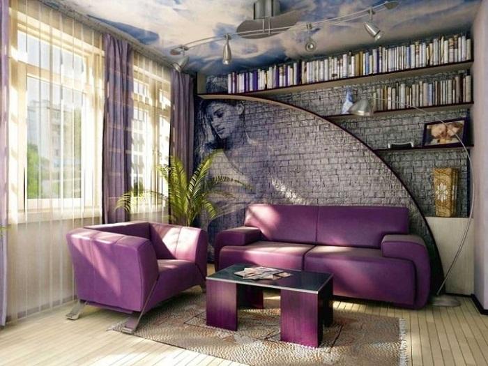 Пример создания «акцентной стены» с помощью декоративного кирпича.