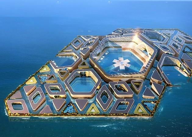 Секции и модули «плавающего» города будут изготовлены на суше (концепт «Eco Atlantis»). | Фото: vnews.agency.