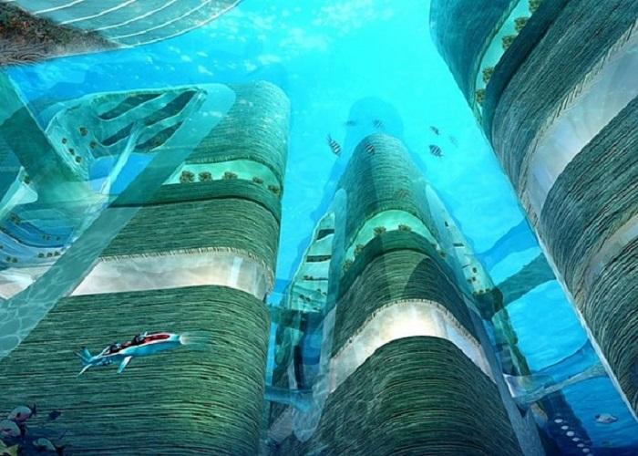 «Плавающий» город будет иметь разветвленную подводную инфраструктуру («Eco Atlantis»). | Фото: building-tech.org.
