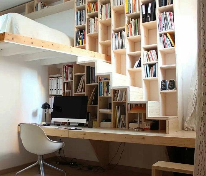С помощью кубического шкафа можно организовать пространство и системы хранения одновременно.   Фото: dizainvfoto.ru.