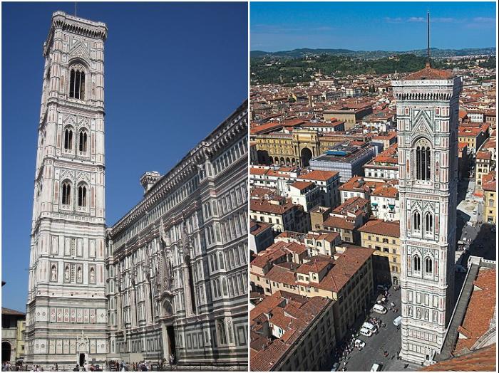 Кампанила Санта-Мария дель Фьоре спроектирована Джотто ди Бондоне по законам обратной перспективы (Флоренция).
