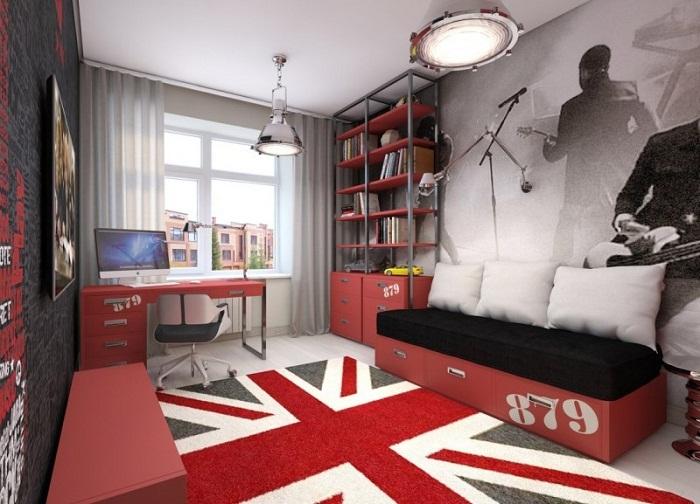 Если сын увлекается рок музыкой, то можно и так оформить комнату.