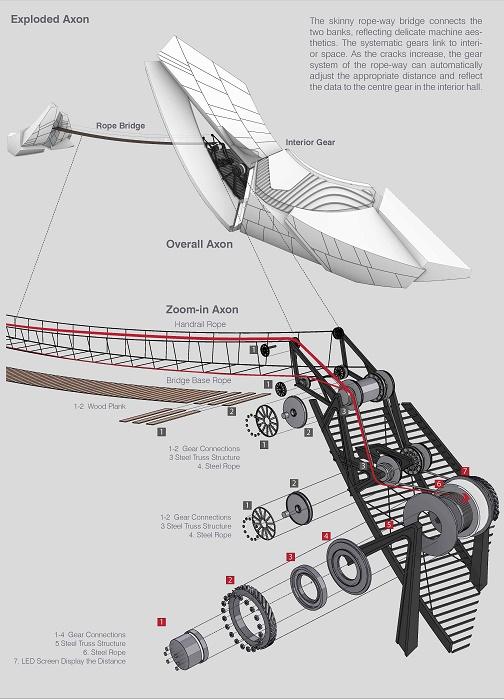 Башни свяжут подвесным мостом, длина которого будет регулироваться специальной натяжной системой на барабанах. | Фото: 00-group.cn.