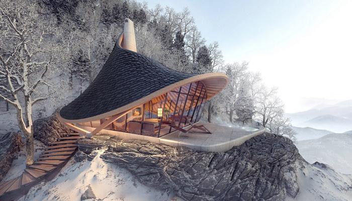 В горах Японии может появиться эко-отель с номерами в виде очаровательных дамских шляпок (концепт YEZO retreat). | Фото: designboom.com.