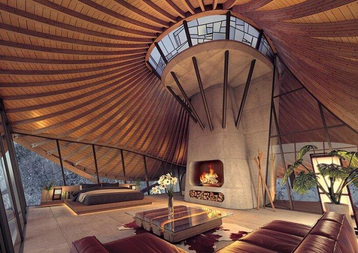 Минималистичный интерьер номера лишь подчеркивает его особенность (концепт YEZO retreat). | Фото: designboom.com.