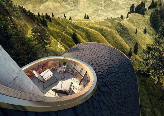 На самой вершине крыши-шляпки имеется панорамная терраса с зоной отдыха (концепт YEZO retreat). | Фото: designboom.com.