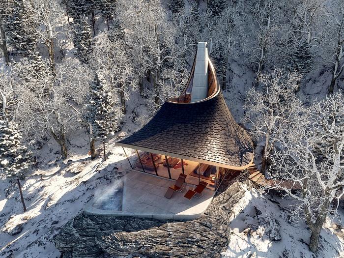 Лесная хижина эко-курорта идеально впишется в живописный горный ландшафт (концепт YEZO retreat). | Фото: mymodernmet.com.