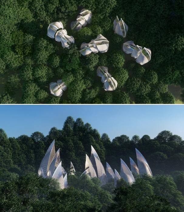 Концептуальный архитектурный проект для экологического туристического комплекса в стиле GLAMPING (концепт студии Veliz Arquitecto).