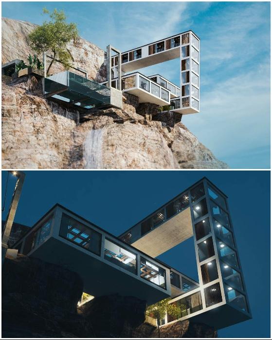 Несколько модулей, закрепленных вертикально и горизонтально, образуют необычную конфигурацию (концепт Mountain House).