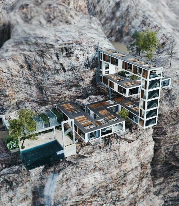«Горный дом» рассчитан на проживание нескольких поколений одной семьи (концепт). | Фото: mymodernmet.com.