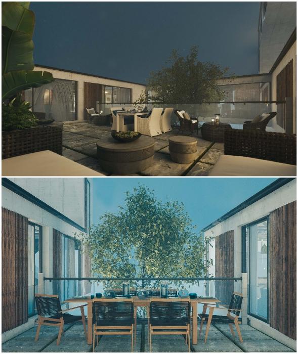 Несколько внутренних двориков станут лучшим местом для отдыха на свежем воздухе (концепт Mountain House).