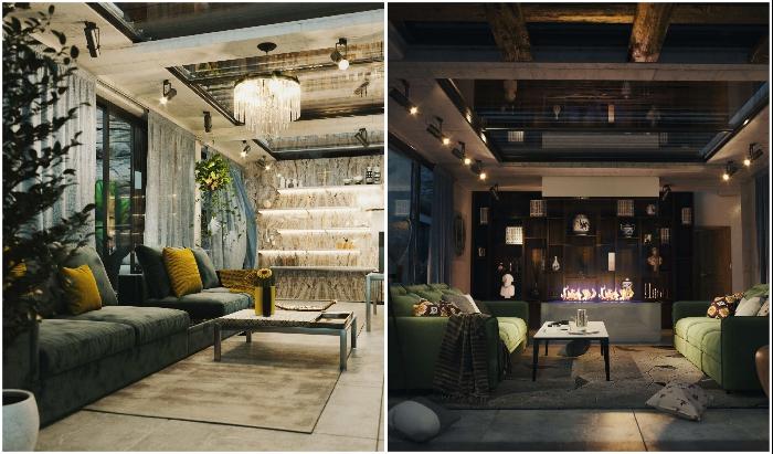 Интерьер гостиных комнат «Горного дома» (концепт архбюро Milad Eshtiyaghi).