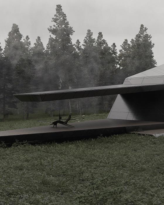 Консольное расположение элементов конструкции здания и крыши позволили организовать зону отдыха на террасе (концепт Blackbird Cabin). | Фото: theculturecurators.com.