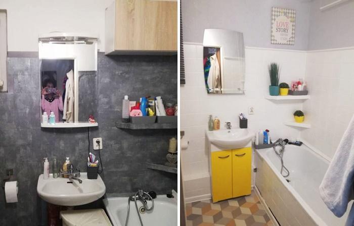 Керамическую плитку тоже можно покрасить, чтобы ванная комната заиграла новыми цветами.