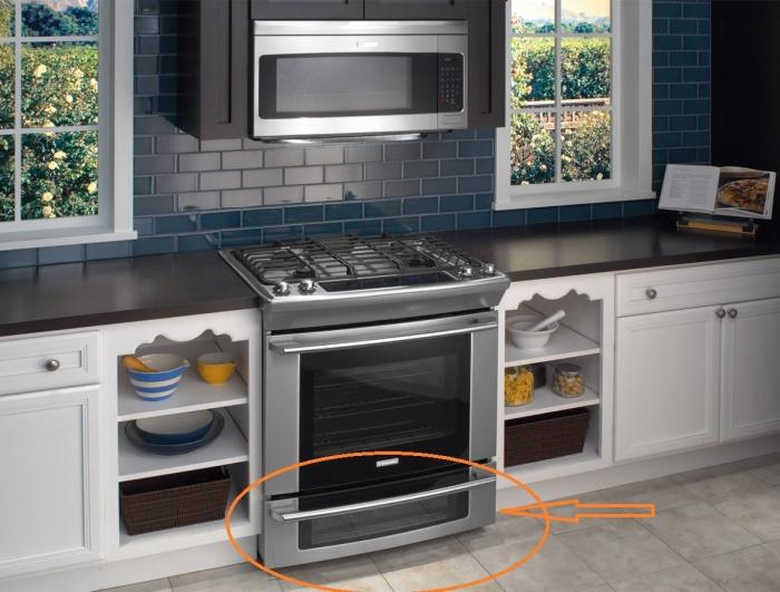 Этот ящик не для хранения сковородок и кастрюль. | Фото: deshevaya-mebel.ru.