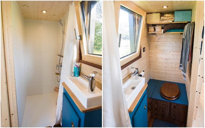 Ванная комната в мобильном доме-студии (Tiny House Rhapsodie).