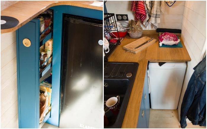 На кухне нашлось место для мини-кладовой и стиральной машины (Tiny House Rhapsodie).