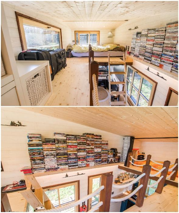 На втором уровне обустроено две спальни (Tiny House Rhapsodie).