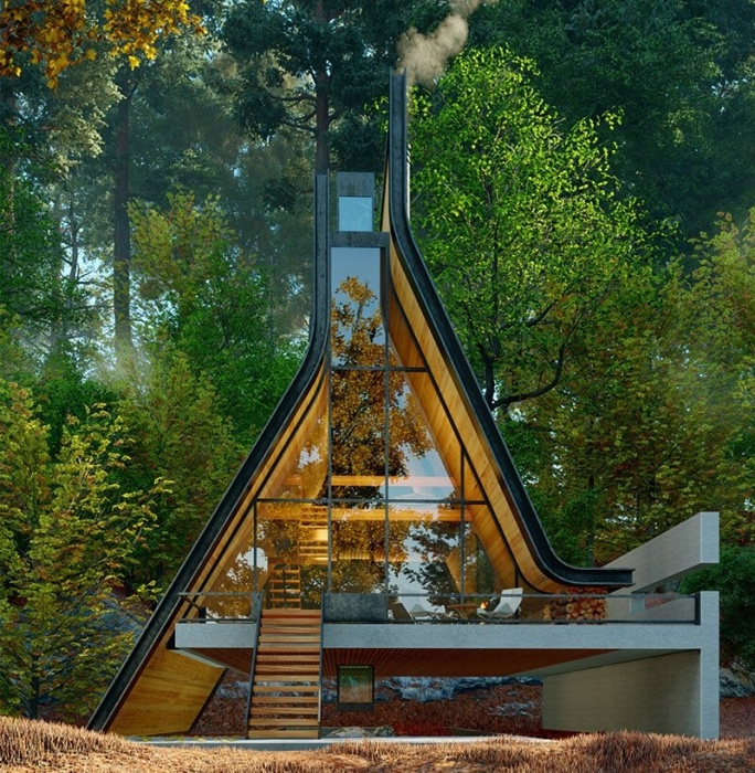 Иранские архитекторы представили оригинальный проект лесной хижины, крыша которой в дождливую погоду образует водопад (Kujdane Cabin, Гилан). | Фото: designboom.com.