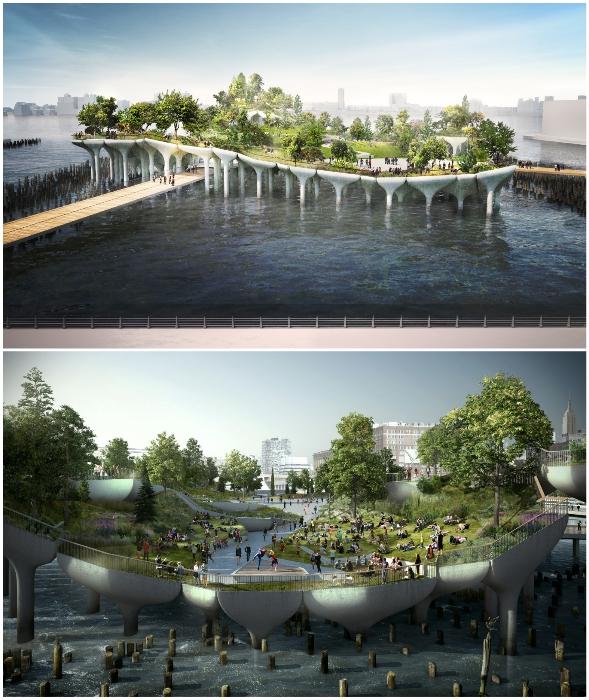 Новая общественная зона позволит наслаждаться отдыхом на природе в центре огромного мегаполиса (Нью-Йорк, США).