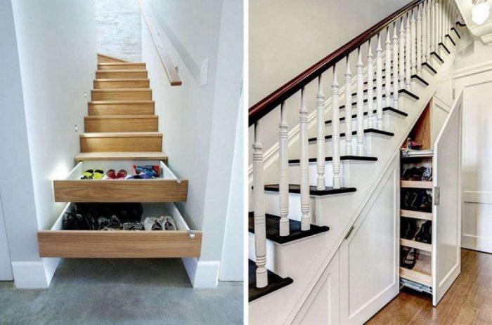 Пространство под ступенями можно использовать по-разному. | Фото: makemone.ru.