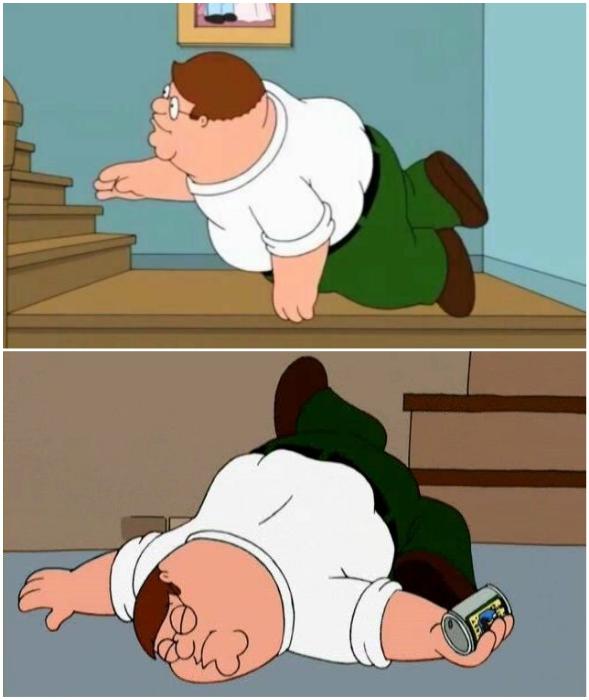 Спускаясь по лестнице с «гусиным шагом», нужно быть предельно внимательным и абсолютно трезвым.