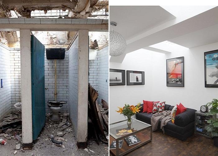 Фантастическое преобразование руин общественного туалета в уютную квартиру.