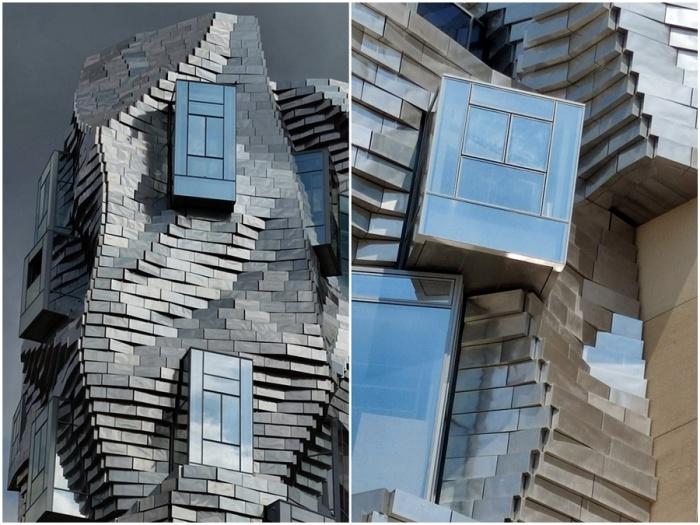 Только стандартные, правильно расположенные окна делают башню похожей на архитектурный объект (Parc des Ateliers, Франция).
