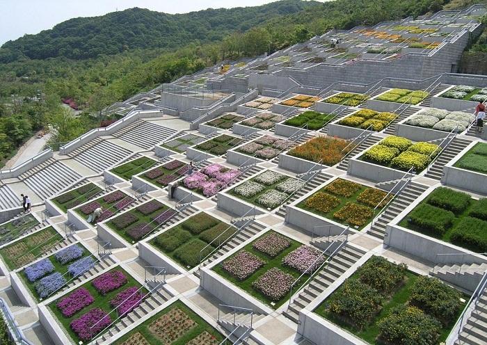 Та выглядит «Лестница мечтаний» (Awaji Yumebutai), состоящая из 100 клумб.